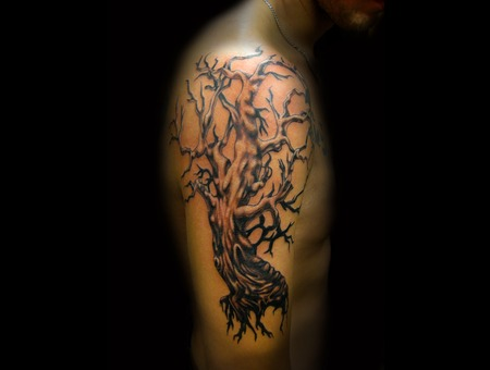 Tree  Organic  Half Sleeve  Tree Of Life  Branches  Nature Black Grey