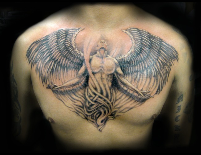 Angel  Chest Piece  Wings  Man   Black Grey