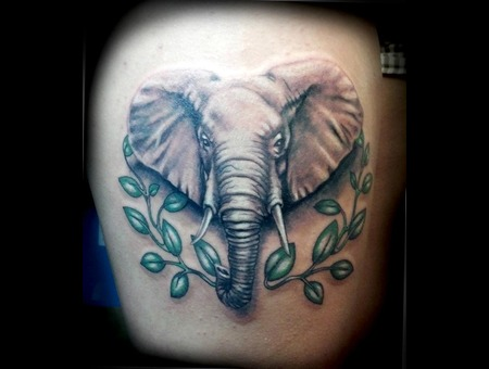 Elephant  Animal Portrait  Thigh Tattoo  Leaves  3d Black Grey