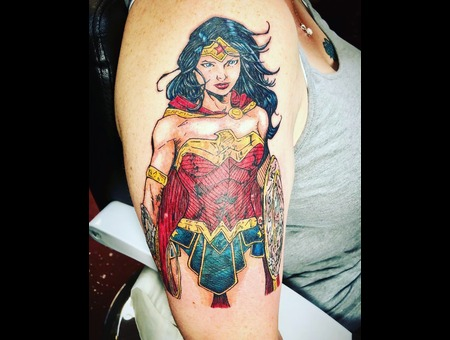 Wonder Woman Tattoo  Comic Book Style Tattoo  Animated Style Tattoo Color Arm
