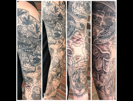 Black And Grey Sleeve  Realism Tattoo  Animal Portrait Tattoo  Florida Tat  Black Grey Arm