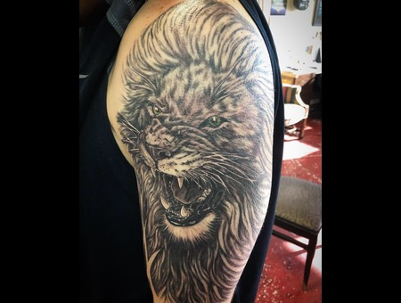 Lion Tattoo  Realism Lion Tattoo Black Grey Arm