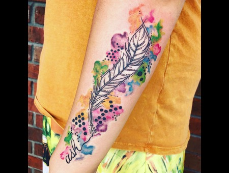 Quill Tattoo  Abstract Quill Feather  Watercolor Tattoo Color Forearm