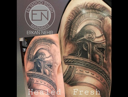 Spartan  Tatttoo  Warrior  Realism  Erkan  Nehir  Marmaris Black Grey Shoulder