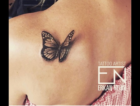 3d  Butterfly  Realism  Tattoo  Tattoos  Erkan  Nehir  Marmaris Black Grey Back