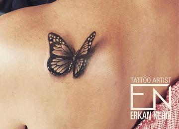 3d, butterfly, realism, tattoo, tattoos, erkan, nehir, marmaris