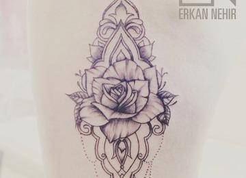rose, dotwork, mandala, lace, girl, tattoo, erkan, nehir, marmaris
