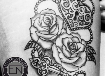 rose, roses, lock, key, girly, tattoo, erkan, nehir, marmaris