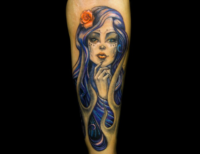 Day Of The Dead Girl  Pinup  Sexy  Rose Color