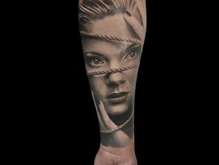 Custom Artwork Black Grey Forearm