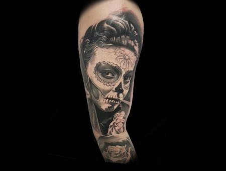 Day Of The Dead Girl Black Grey Arm