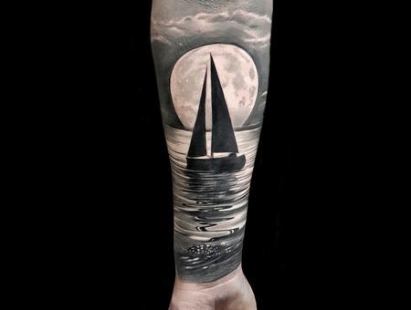 Custom Artwork Black Grey Forearm