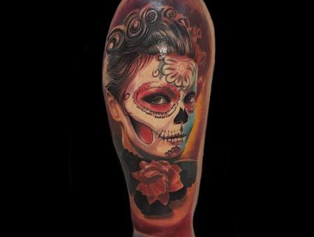 Muerte Girl Portrait/Coverup Color Arm