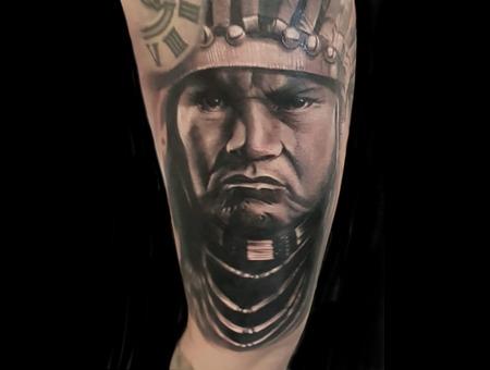 Native American Portrait Black Grey Arm