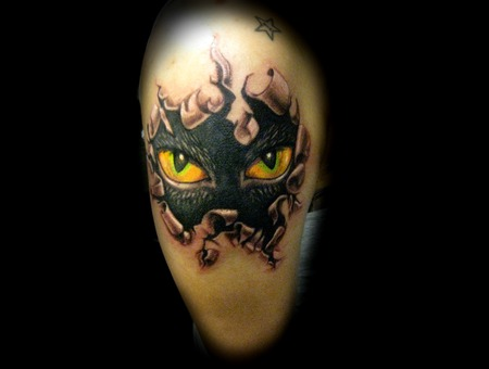 Cat Eyes  Ripping Skin  3d  Fantasy  Cat   Color
