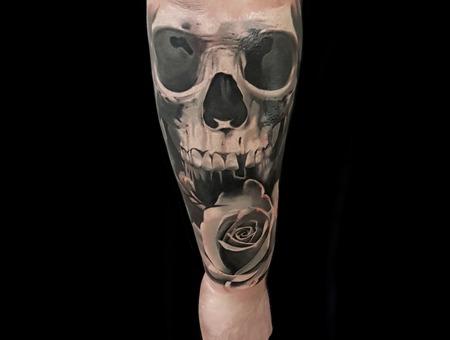 Skull And Rose Black Grey
