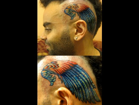 Head Tattoo  Wings  Color   Color