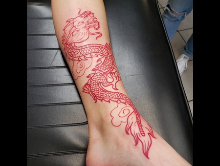 Linework  Chinese  Dragon  Red Lines Color Lower Leg