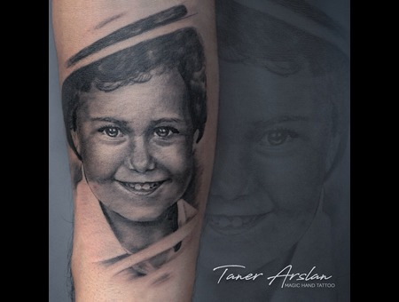 Child Portrait Black Grey Forearm