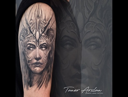 Fantasy Portrait Black Grey Forearm