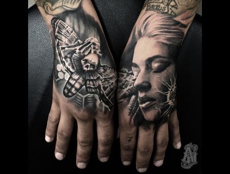 Butterfly Woman Black Grey Arm