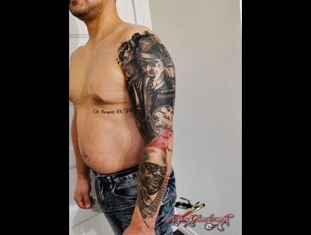 Realistic Sleeve #Bluesman #Neworleans Black Grey Arm