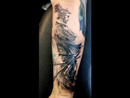 Samurai  Black  Arm  Black Grey Forearm