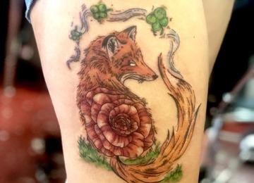 Fox tattoo, watercolor tattoo, abstract tattoo