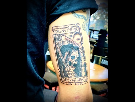 Tarot Card Tattoo  Black Work  Reaper Tattoo  Illustrative Tattoo Black Grey Arm