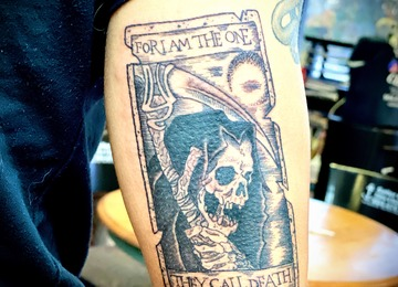 Tarot card tattoo, black work, reaper tattoo, illustrative tattoo
