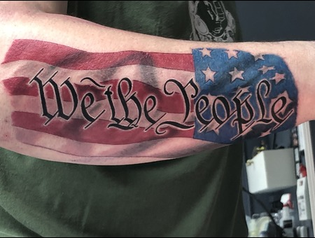 U.S.A.  Flag  We The People  Constitution  3%  Color Forearm