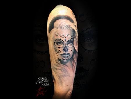 Shugar Skull Girl Tattoo Realistic Dia De Los Muertos Tattoo Black Grey