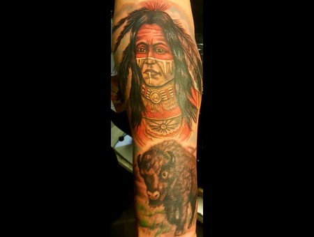 Indians  Buffalos  Native Americans  Ethnic Color Arm
