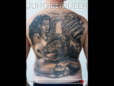 Jungle Queen  Girl  Lion  Jungle  Black Grey Back