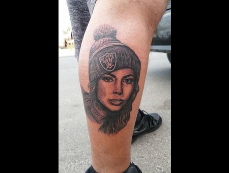 Raiders  Realistic  Realism  Tattoo  Portrait  Best  Jimena Sanchez  Best Black Grey Lower Leg