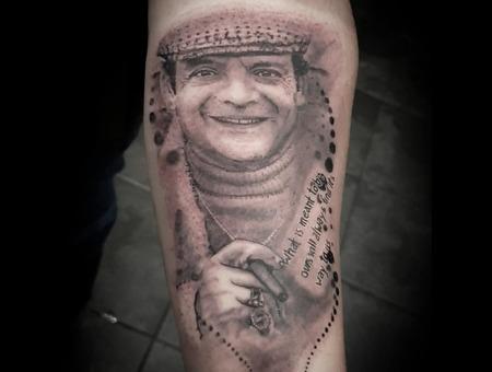 Delboy  Belboy Tattoo  Trash Polka Tattoo   Black Grey Forearm