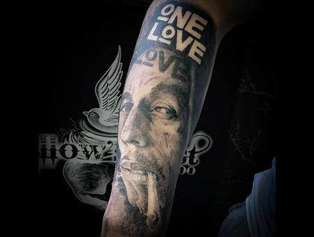 Bob Marley  Portrait Tattoo   Black Grey Forearm