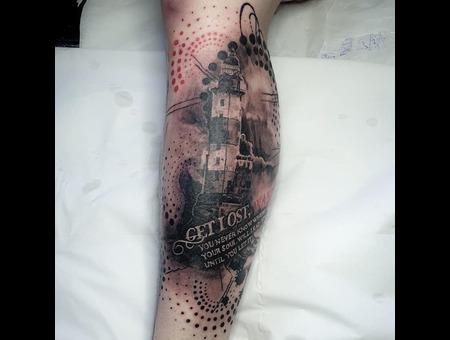 Trash Polka  Trash Polka Tattoo  Lighthouse Tattoo  Color Lower Leg