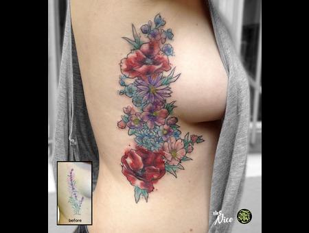 Missnico Allstyletattoo Tattoo Watercolortattoo Coveruptattoo  Riptattoo Color Ribs