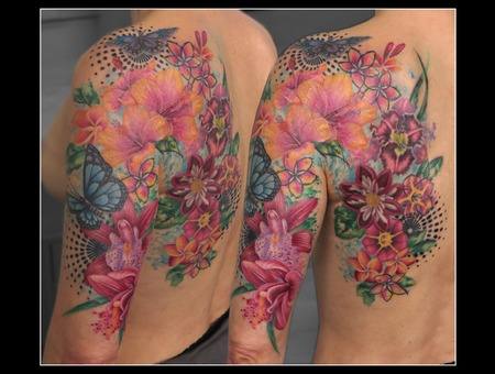 Missnico Allstyletattoo Scartattoo Flowertattoo Watercolortattoo Coverup Color Shoulder