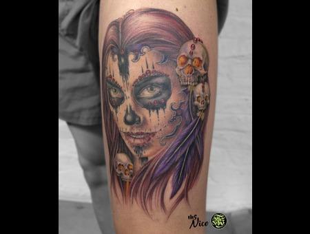 Missnico Allstyletattoo Lacatrina Legtattoo Realistictattoo Tattoo Color Thigh
