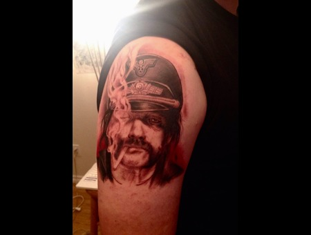 Portrait  Lemmy  Motörhead  Realism   Black Grey Arm