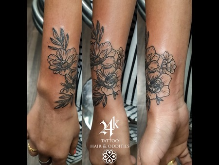 Flower Tattoo  Illustration Style Tattoo Tattoos By Vikram Black Grey Forearm