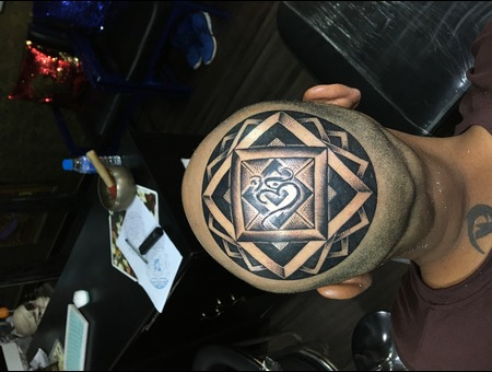 Om Mandala Tattoo 3d Head Tattoo  Blackwork Black Grey Head