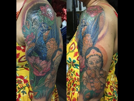Burnscar Cover Up  Cover Up Tattoo Lord Murugan  Peacock Tattoo  Lotus  Color Arm