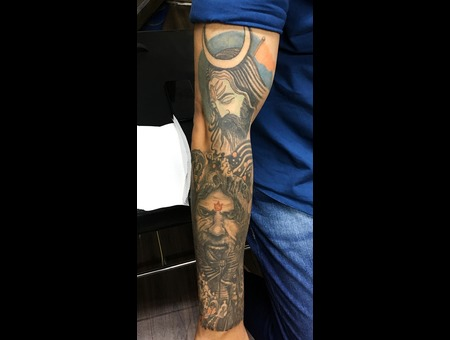 Rudra And Shiva  Shiva Healed Sleeve Aghora  Shiva Tattoo  Tattoosbyvikram Color Arm