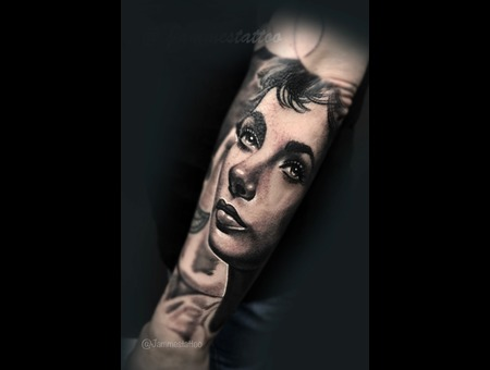 Elizabeth Taylor Realistic Tattoo Black Grey Forearm