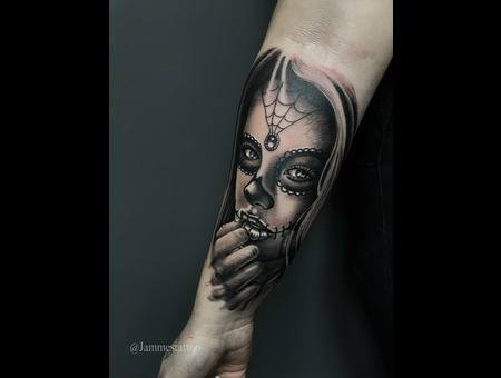 Girl Tattoo Day Of The Dead Black Grey Forearm