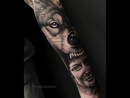 Wolf Tattoo Black And Grey Black Grey Forearm