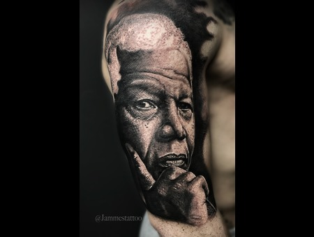 Nelson Mandela Tattoo Ink Realistic Black Grey Arm